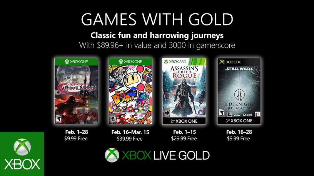 Xbox Live Games With Gold - les jeux offerts du mois de février 2019