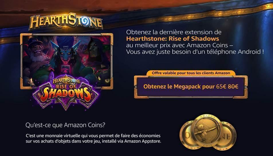 HEARTHSTONE- RISE OF SHADOWS - AMAZON COINS