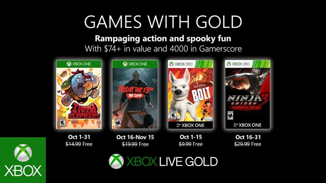 Xbox Live Games With Gold octobre 2019