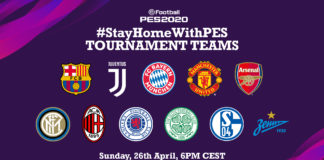 #StayHomeWithPES Teams CEST